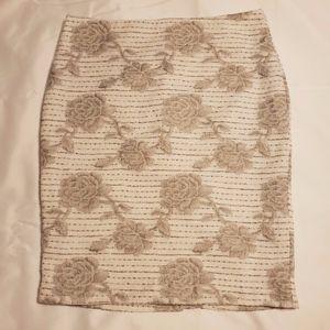Ann Taylor Tweedelike Rose Print Pencil Skirt